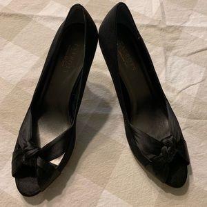 Black grosgrain and satin peep toe pumps